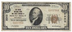 Us Coins - New Jersey, Mount Holly, Ch. 2343, The Union National Bank and Trust Company of Mount Holly, New Jersey, Series of 1929 Type 1 $10