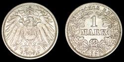 World Coins - GERMANY – Empire 1908-J Mark, Wilhelm II, Hamburg mint