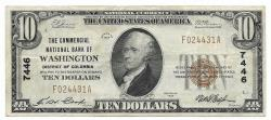 Us Coins - District of Columbia, Washington, Ch. 7446, The Commercial National Bank of Washington, District of Columbia, Series of 1929 Type 1 $10