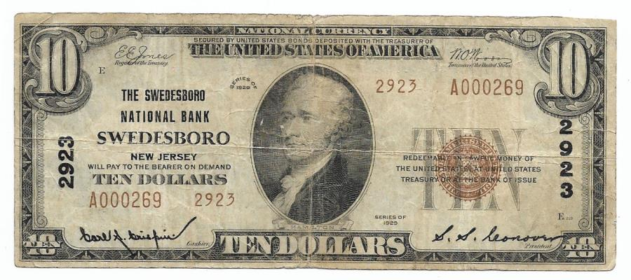 US Coins - New Jersey, Swedesboro, Ch. 2923, The Swedesboro National Bank, Series of 1929 Type 2 $10