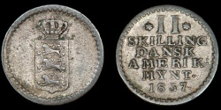 World Coins - DANISH WEST INDIES – 1837 2 Skilling, Frederik VI