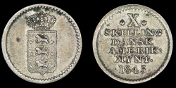World Coins - DANISH WEST INDIES – 1845 10 Skilling, Christian VIII