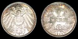 World Coins - GERMANY – Empire 1902-D Mark, Wilhelm II, Munich mint, toned BU