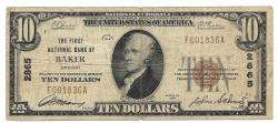 Us Coins - Oregon, Baker, Ch. 4862, The First National Bank of Baker, Oregon, Series of 1929 Type 1 $10