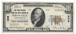 Us Coins - Massachusetts, Springfield, Ch. 308, The Third National Bank and Trust Company of Springfield, Massachusetts, Series of 1929 Type 2 $10