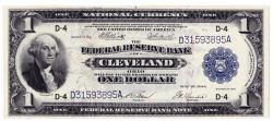 Us Coins - UNITED STATES - Fr. 720, One Dollar Federal Reserve Bank Note, Series of 1918, W-113-D, Cleveland