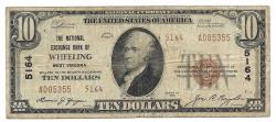 Us Coins - West Virginia, Wheeling, Ch. 5164, The National Exchange Bank, Series of 1929 Type 2 $10