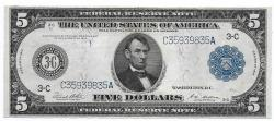Us Coins - UNITED STATES - Fr. 855A, Five Dollar Federal Reserve Note, Series of 1914, W-851-C-b, Philadephia