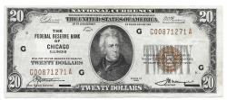 Us Coins - UNITED STATES - Fr. 1870G, Twenty Dollar Federal Reserve Bank Note, Series of 1929, W-2430-G, Chicago