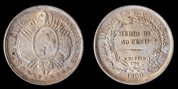 World Coins - BOLIVIA – Republic 1899 PTS MM 50 Centavos