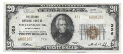Us Coins - Pennsylvania, Mechanicsburg, Ch. 326, The Second National Bank of Mechanicsburg, Pennsylvania, Series of 1929 Type 2 $20