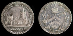 "World Coins - GREAT BRITAIN – Silver token 1811 Gloucestershire, Gloucester, anonymous issue Shilling, variety with period after ""COUNTY."""