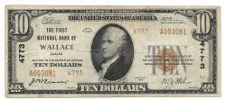 Us Coins - Idaho, Wallace, Ch. 4773, The First National Bank of Wallace, Idaho, Series of 1929 Type 2 $10