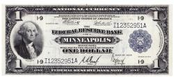 Us Coins - UNITED STATES - Fr. 736, One Dollar Federal Reserve Bank Note, Series of 1918, W-129-I, Minneapolis