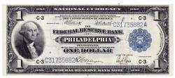 Us Coins - UNITED STATES - Fr. 717, One Dollar Federal Reserve Bank Note, Series of 1918, W-110-C, Philadelphia