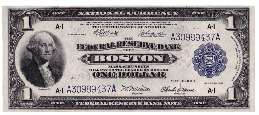 US Coins - UNITED STATES - Fr. 710, One Dollar Federal Reserve Bank Note, Series of 1918, W-102-A, Boston