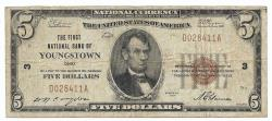 Us Coins - Ohio, Youngstown, Ch. 3, The First National Bank of Youngstown, Ohio, Series of 1929 Type 1 $5