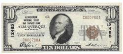 Us Coins - New Mexico, Albuquerque, Ch. 12485, The Albuquerque National Trust and Savings Bank, Albuquerque, New Mexico, Series of 1929 Type 1 $10