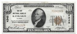 Us Coins - Illinois, Kankakee, Ch. 4342, The City National Bank of Kankakee, Illinois, Series of 1929 Type 1 $10
