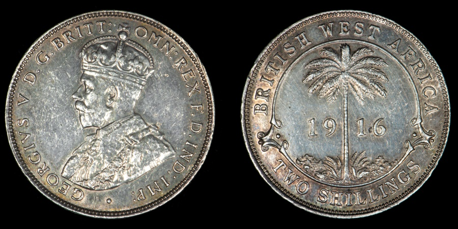 World Coins - BRITISH WEST AFRICA – 1916-H Two Shillings, George V