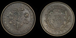 "World Coins - CANADA – LOWER CANADA – (ca. 1835-37) Bouquet ""Sou"" Token, Belleville issue, Br. 694"