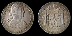 World Coins - MEXICO – Spanish Colonial 1810 Mo H.J. 8 Reales Ferdinand VII imaginary bust