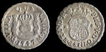 World Coins - MEXICO – Spanish Colonial 1747 Mo M 1/2 Real Philip V posthumous