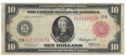 Us Coins - UNITED STATES - Fr. 893B, Ten Dollar Federal Reserve Note, Series of 1914 red seal, W-1550-B-b, New York