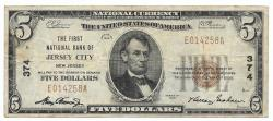 Us Coins - New Jersey, Jersey City, Ch. 374, The First National Bank of Jersey City, New Jersey, Series of 1929 Type 1 $5