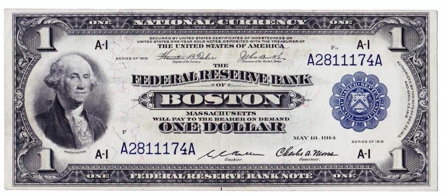 US Coins - UNITED STATES - Fr. 708, One Dollar Federal Reserve Bank Note, Series of 1918, W-100-A, Boston