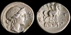 Ancient Coins - ROMAN REPUBLIC – Crawford 291/1, M. Aemilius Lepidus Denarius, 114/113 B.C.
