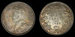 World Coins - CANADA – 1929 25 Cents, George V
