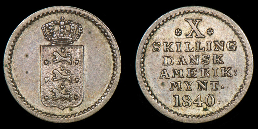 World Coins - DANISH WEST INDIES – 1840 10 Skilling, Christian VIII