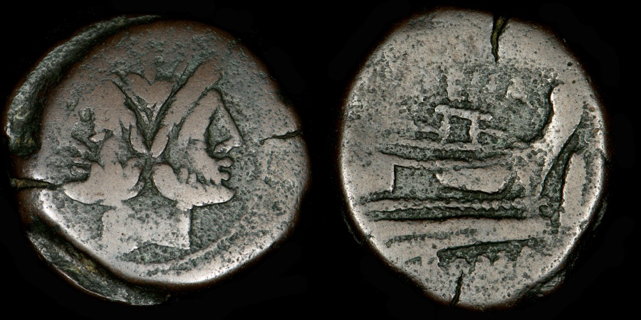 Ancient Coins - ROMAN REPUBLIC – Crawford 186/1, L. Licinius Murena As, 169 – 158 B.C.