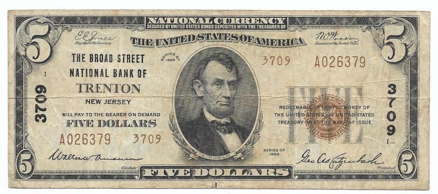 US Coins - New Jersey, Trenton, Ch. 3709, The Broad Street National Bank of Trenton, New Jersey, Series of 1929 Type 2 $5