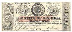 Us Coins - State of Georgia, February 2, 1863, 50 Dollars, Cr. 7, Martin/Latimer Type 20
