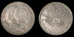 World Coins - MEXICO – Republic – Cap & Rays 4 Reales, 1855 Zacatecas mint, 1855 Zs O.M.