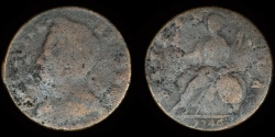 """World Coins - GREAT BRITAIN – """"1746"""" anonymous contemporary counterfeit regal Halfpenny, temp. George II – George III, cast"""