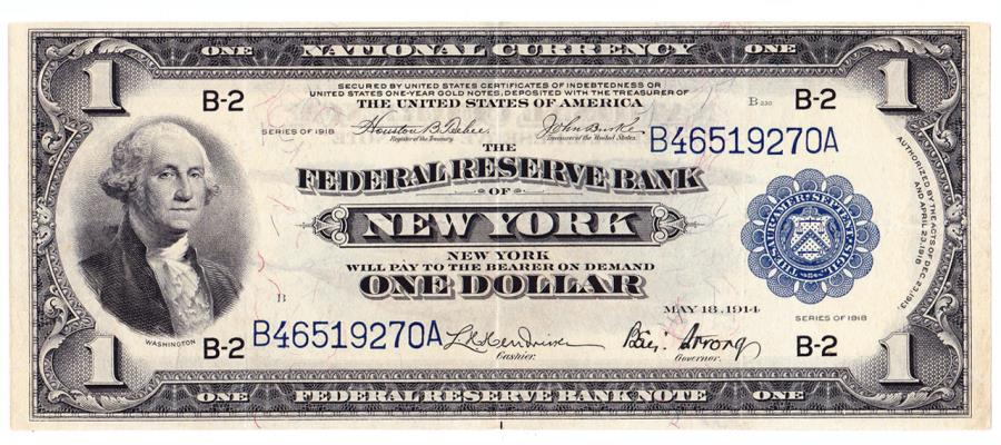 US Coins - UNITED STATES - Fr. 712, One Dollar Federal Reserve Bank Note, Series of 1918, W-105-B, New York