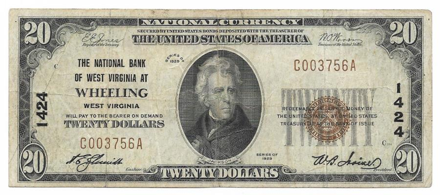 US Coins - West Virginia, Wheeling, Ch. 1424, The National Bank of West Virginia, Series of 1929 Type 1 $20