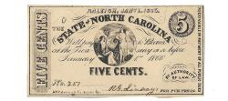 Us Coins - State of North Carolina, January 1, 1863, 5 Cents, Cr. 148