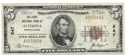 Us Coins - Pennsylvania, Altoona, Ch. 247, The First National Bank of Altoona, Pennsylvania, Series of 1929 Type 1 $5