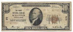 Us Coins - Pennsylvania, Scranton, Ch. 77, The First National Bank of Scranton, Pennsylvania, Series of 1929 Type 2 $10