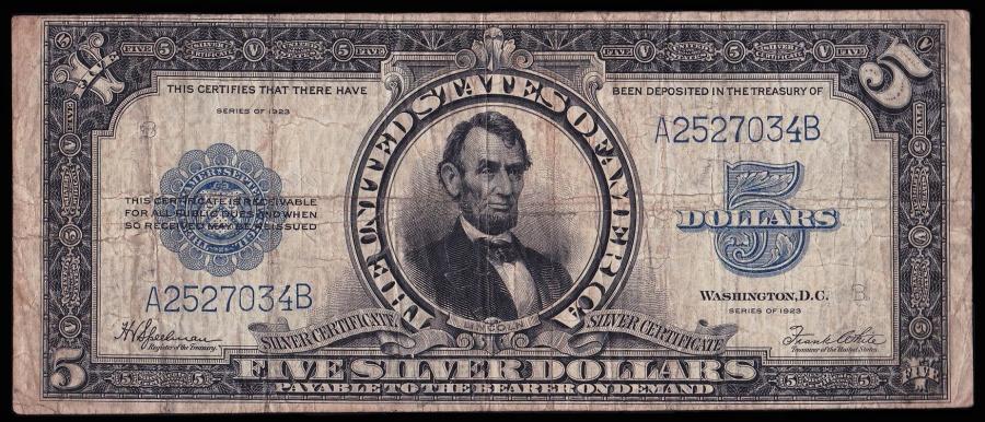 Fr. 281 – Series 1923 5 Dollar Silver Certificate \