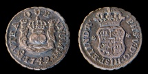 World Coins - MEXICO – Spanish Colonial 1742 Mo M 1/2 Real Philip V