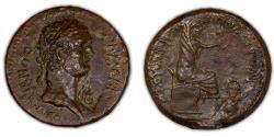 Ancient Coins - ROMAN PROVINCIAL – Cilicia Pedias, Flaviopolis-Flavias, Domitian AE, river god reverse, countermarked