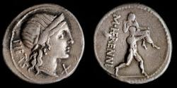 Ancient Coins - ROMAN REPUBLIC – Crawford 308/1a, M. Herennius Denarius, 108 – 107 B.C.