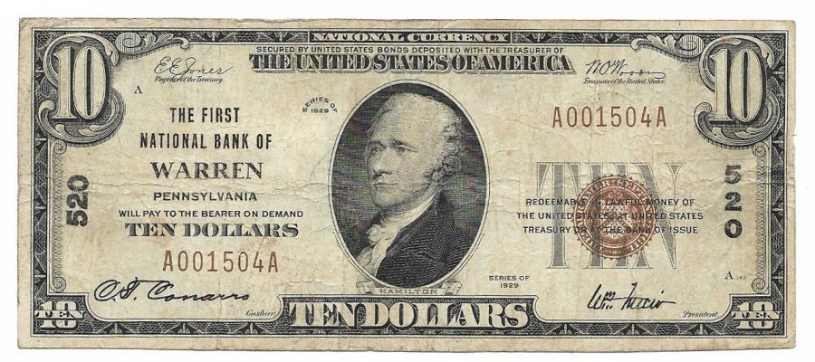 US Coins - Pennsylvania, Warren, Ch. 520, The First National Bank of Warren, Pennsylvania, Series of 1929 Type 1 $10