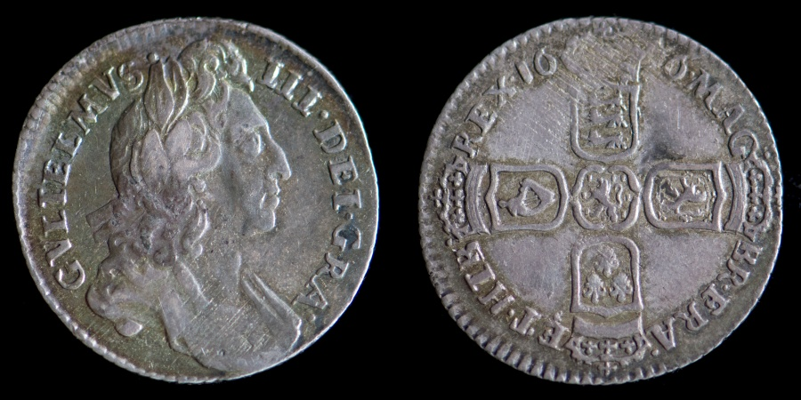 World Coins - ENGLAND – 1696 Sixpence, William III