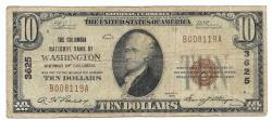 Us Coins - District of Columbia, Washington, Ch. 3625, The Columbia National Bank of Washington, District of Columbia, Series of 1929 Type 1 $10